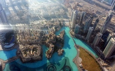 Looking down at the Burj Khalifa Lake.
