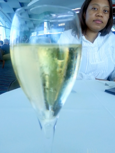 My wife and I, enjoying our fine champagna!