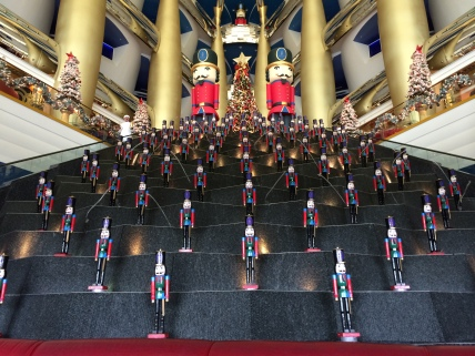 An army of nutcrackers awaited us inside the lobby of the Burj Al Arab. Luckily, they were only a display, or else nuts everywhere would have fled before their might.