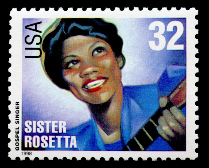 US postage stamp depicting Sister Rosetta Tharpe.