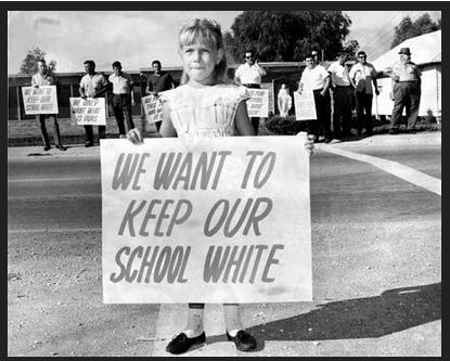 Children with racist signs